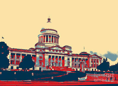 Capitol Building Digital Art - Arkansas State Capitol  by Karen Francis