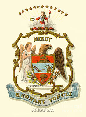 Arkansas State Coat Of Arms  Art Print by Celestial Images