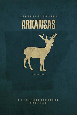 Arkansas Mixed Media - Arkansas State Facts Minimalist Movie Poster Art by Design Turnpike