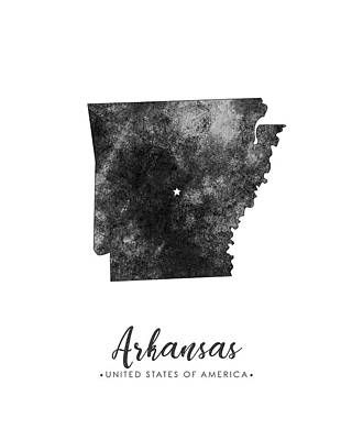 Geography Mixed Media - Arkansas State Map Art - Grunge Silhouette by Studio Grafiikka