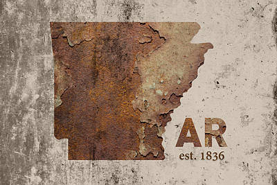Arkansas State Map Industrial Rusted Metal On Cement Wall With Founding Date Series 034 Print by Design Turnpike