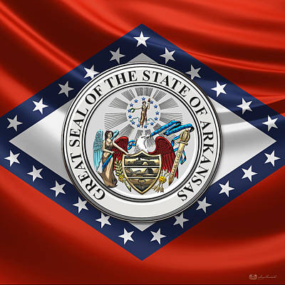Digital Art - Arkansas State Seal Over Flag by Serge Averbukh