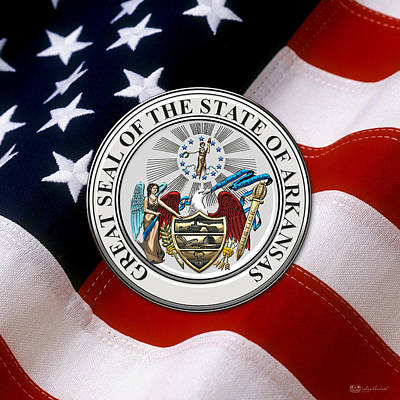 Digital Art - Arkansas State Seal Over U.s. Flag by Serge Averbukh