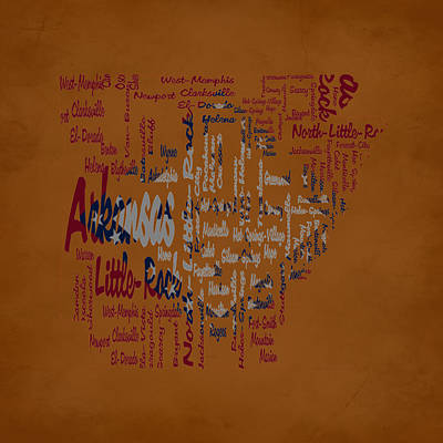 Arkansas Typographic Map Art Print by Brian Reaves
