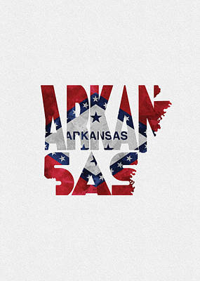 Digital Art - Arkansas Typographic Map Flag by Inspirowl Design