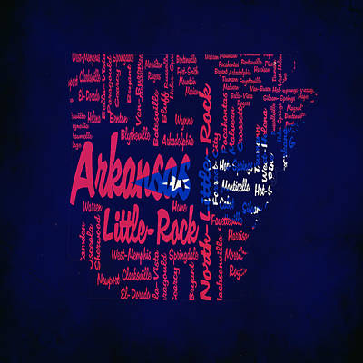Arkansas Typographic Map1a Art Print by Brian Reaves