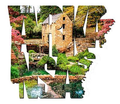 Arkansas Typography - Afternoon At The Old Mill - Arkansas Art Print by Gregory Ballos