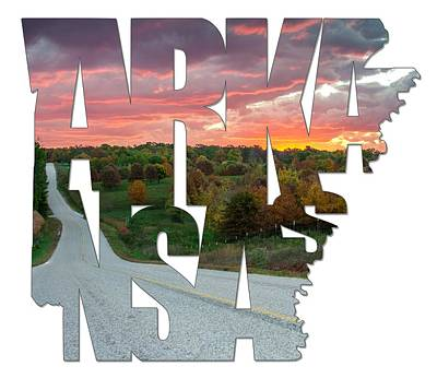 Arkansas Typography - Country Back Roads Art Print by Gregory Ballos