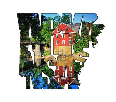 Arkansas Typography - War Eagle Mill And Bridge - Arkansas Art Print