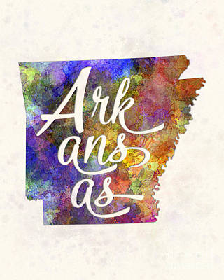 Arkansas Painting - Arkansas Us State In Watercolor Text Cut Out by Pablo Romero