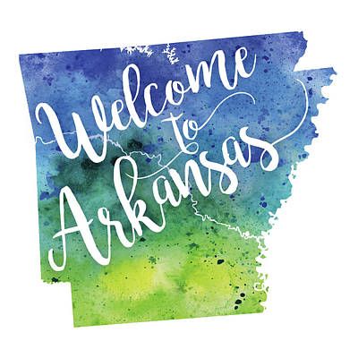 Arkansas Painting - Arkansas Watercolor Map - Welcome To Arkansas Hand Lettering by Andrea Hill