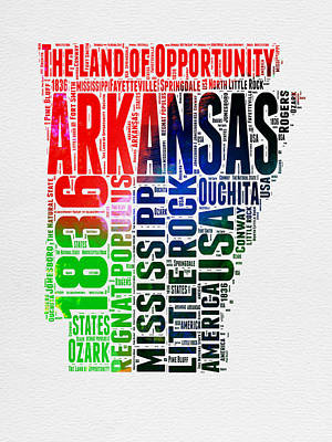 Arkansas Watercolor Word Cloud  Art Print by Naxart Studio