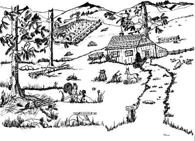 Farm Scene Drawing - Arlenne's Idyllic Farm by Daniel Hagerman