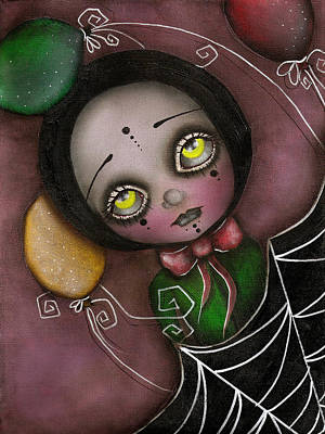 Angel Painting - Arlequin Clown Girl by  Abril Andrade Griffith