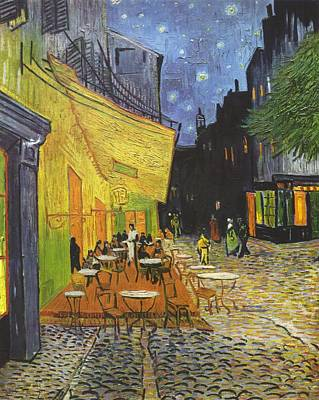Travel Pics Royalty-Free and Rights-Managed Images - Arles Cafe Terrace at Night by Vincent van Gogh
