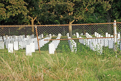 Photograph - Arlington National Cemetery Behind A Rusting Barbed Wire Fence by Cora Wandel