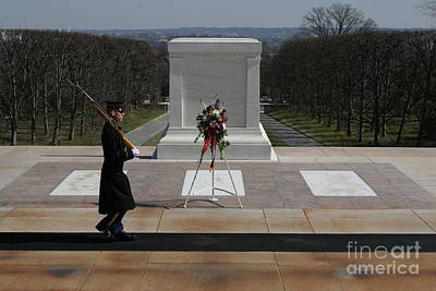 Photograph - Arlington Cemetery Honor Guard Wreath by April Sims