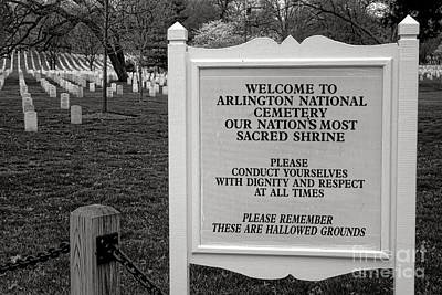 Photograph - Arlington Cemetery Sign by Olivier Le Queinec