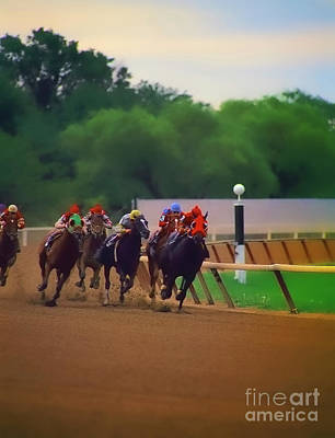 Photograph -  Arlington Park Out Of The Turn Into The Stretch by Tom Jelen