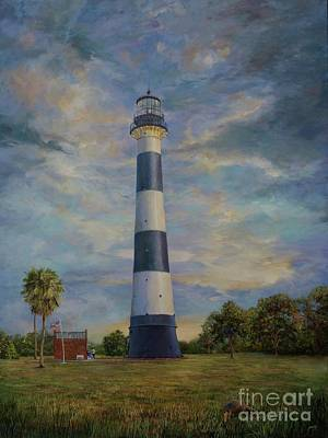 Nature Center Painting - Armadillo And Lighthouse by AnnaJo Vahle