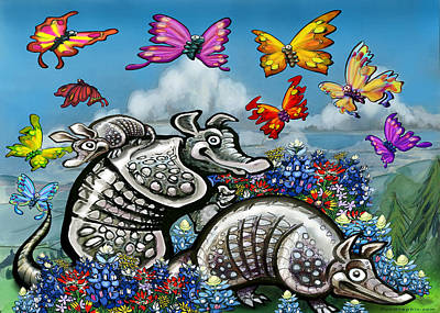 Armadillo Digital Art - Armadillos Bluebonnets And Butterflies by Kevin Middleton