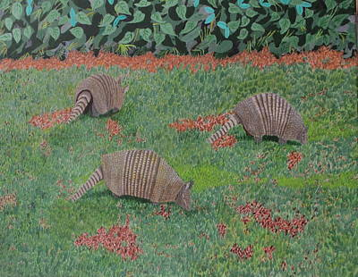 Painting - Armadillos In The Yard by Hilda and Jose Garrancho