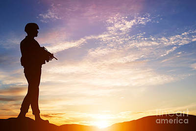 Armed Soldier With Rifle Standing And Looking On Horizon Art Print by Michal Bednarek