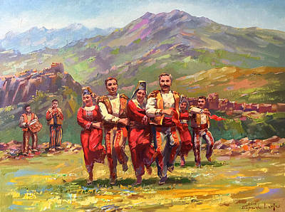 Painting - Armenian Dance Of Armenian Mountains by Meruzhan Khachatryan