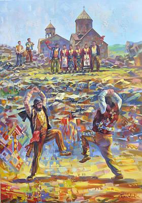 Armenian Painting - Armenian Soul In Armenian Dance Yarkhushta by Meruzhan Khachatryan