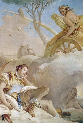 Jerusalem Drawing - Armida Abducting The Sleeping Rinaldo by Giovanni Battista Tiepolo