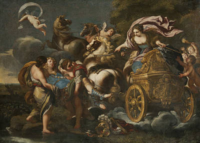 Abducted Painting - Armida Abducts Rinaldo by Andrea Camassei