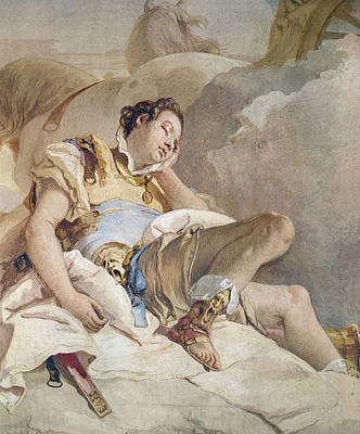 Jerusalem Drawing - Armida Adbucting The Sleeping Rinaldo by Giovanni Battista Tiepolo