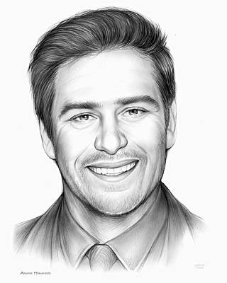 Drawings - Armie Hammer by Greg Joens