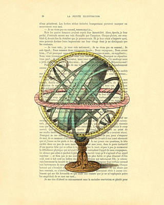 18th Century Digital Art - Armillary Sphere In Color Antique Illustration On Book Page by Madame Memento