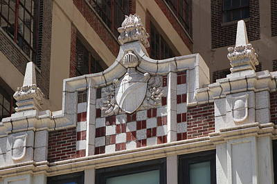 Photograph - Armor And Shield Ornate Decoration On Brick Building Chicago Illinois by Colleen Cornelius