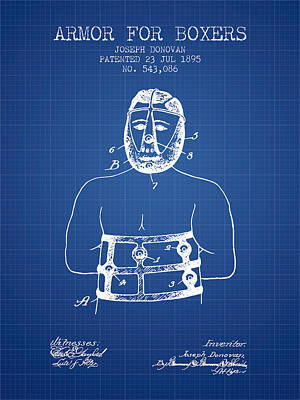 Heads Digital Art - Armor For Boxers Patent From 1895 - Blueprint by Aged Pixel