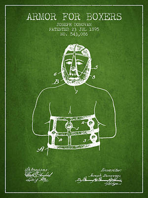 Heads Digital Art - Armor For Boxers Patent From 1895 - Green by Aged Pixel