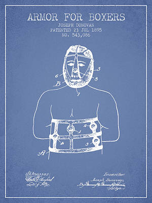 Heads Digital Art - Armor For Boxers Patent From 1895 - Light Blue by Aged Pixel