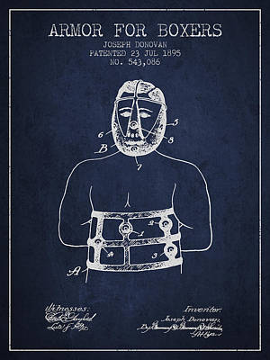 Heads Digital Art - Armor For Boxers Patent From 1895 - Navy Blue by Aged Pixel