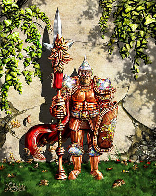 Rivets Painting - Armored Imperial Gryphon Guard Wielding A Shield And Ranseur by Nigel Andreola