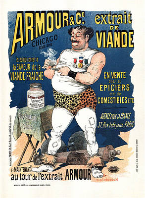 Mixed Media - Armour and co Mean Extract - Body Builder - French Vintage Advertising Poster by Studio Grafiikka