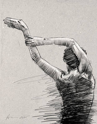 Ballet Drawing - Arms And Shoulders by H James Hoff