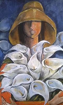 South African Artist Painting - Arms Full Of Arum Lilies by Kareni Bester