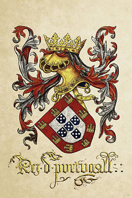 Digital Art - Arms Of King Of Portugal - Livro Do Armeiro-mor by Serge Averbukh