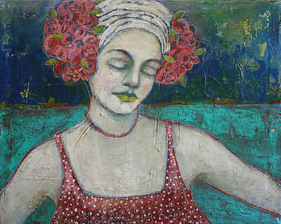 Portrait Mixed Media Painting - Arms Wide Open by Jane Spakowsky