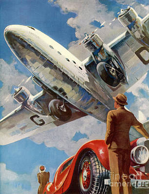 Passenger Plane Drawing - Armstrong Whitworth  Ensign Of Imperial Airways And A Red Car by Mary Evans Picture Library