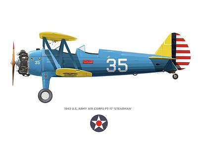 Digital Art - Army Air Corps Pt-17 by Rick Blyseth