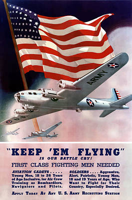 Us Flag Mixed Media - Army Air Corps Recruiting Poster by War Is Hell Store