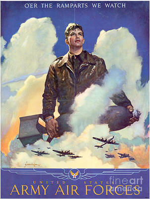 Painting - Army Air Forces Poster Over The Ramparts We Watch by R Muirhead Art