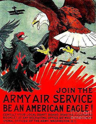 Army Air Service Recruitment Poster 1918 Art Print